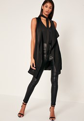 Missguided Black Waterfall Tie Neck Sleeveless Waistcoat