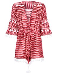 Dodo Bar Or Red Cotton Jacquard Ashtar Playsuit