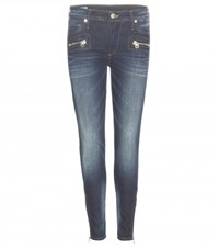 True Religion Halle Mid Rise Super Skinny Cropped Jeans Blue