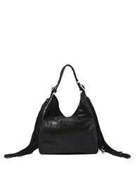 Brian Atwood Dubai Fringed Leather Hobo Bag Black