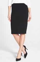 Eileen Fisher Silk Blend Knit Straight Skirt Black