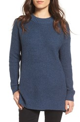 Women's Bp. Ribbed Mock Neck Pullover Blue Insignia Heather
