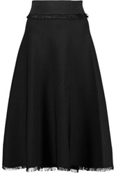 A.L.C. Murphy Fringe Trimmed Ribbed Knit Midi Skirt Black