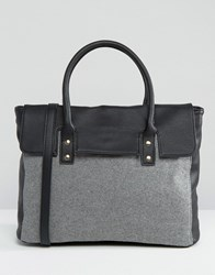 Pieces Foldover Tote Bag With Contrast Grey Black