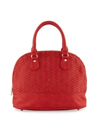 Neiman Marcus Woven Dome Satchel Bag Poppy