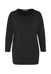 Hallhuber Dolman Sleeve Top With Beaded Neckline Black