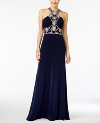Jump Juniors' Rhinestone Illusion Halter Gown Navy
