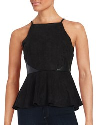 Design Lab Lord And Taylor Faux Leather Accented Peplum Top Black