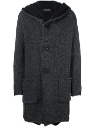 Transit 'Futra' Hooded Coat Grey
