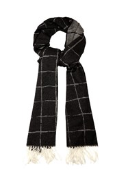Balenciaga Windowpane Checked Cashmere Scarf Black White