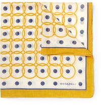 Boglioli Printed Cotton And Silk Blend Pocket Square Yellow