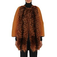 Barneys New York Women's Fur Front Wool Cashmere Coat Orange