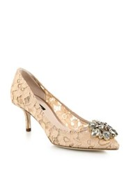 Dolce And Gabbana Embellished Lace Point Toe Pumps Aqua Red Sand Green Pink Black Blue Coral Apricot