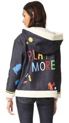 Mira Mikati Handpainted Play More Denim Jacket Dark Blue