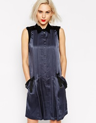 L.A.M.B. L.A.M.B Sleeveless Hammered Silk Dress With Canvas Harness Indiainkblack