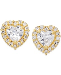 Macy's Cubic Zirconia Heart Stud Earrings In 10K Gold