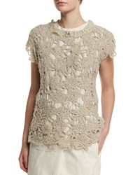 Brunello Cucinelli Cap Sleeve Crochet Top Twine