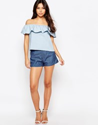 Sugarhill Boutique Denim Shorts With Bow Detail Blue