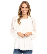 Adrianna Papell Crinkle Chiffon Pleated Blouse Ivory Women's Blouse White