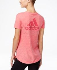 Adidas Logo Heathered V Neck T Shirt Joy