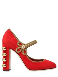 Dolce And Gabbana 105Mm Military Suede Mary Jane Pumps