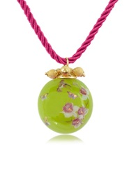 Naoto Alchimia Round Gold Foil Pendant With Lace Green