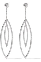 Noir Solaris Silver Tone Crystal Earrings Metallic
