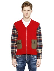 Dsquared Cotton Cardigan W Flannel Shirt Sleeves Red