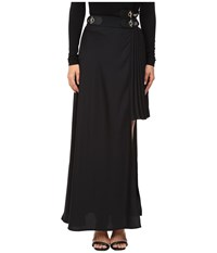 Versace Long Asymmetrical Side Skirt Nero Women's Skirt Black