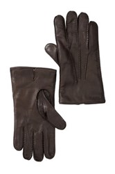 Cole Haan Handsewn Deerskin Wool And Cashmere Lined Glove Brown