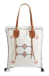 Sole Society Embroidered Vertical Canvas Tote