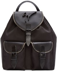 Giuseppe Zanotti Black Leather And Canvas Birelbo Rucksack