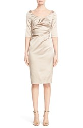 Talbot Runhof Women's Portrait Neck Stretch Satin Sheath Dess