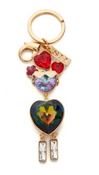 Sophie Hulme Lily Key Ring Brass Crystal Multi