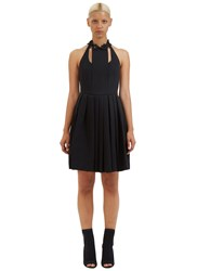 Fendi Flowerland Applique Pleat Dress Black