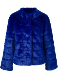 Twin Set Faux Fur Jacket Blue