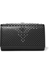 Christian Louboutin Paloma Spiked Leather Clutch Black Silver