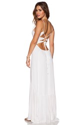 Indah Zera Ruffle Bottom Maxi Dress White