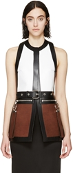 Givenchy White Tricolor Leather Backless Vest