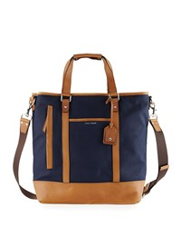 Cole Haan Leather Trim Canvas Tote Bag Navy