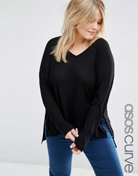 Asos Curve V Neck Top With Long Sleeves In Oversized Slouchy Rib Black