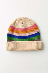 Urban Outfitters Striped Cuff Beanie Pink