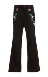 Cynthia Rowley Embroidered Cropped Pants Black