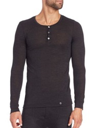 Hanro Wool And Silk Henley Tee Phantom