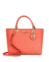Karl Lagerfeld Miranda Leather Satchel Deep Apricot