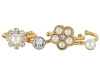 Marc Jacobs Cabochon Midi Ring Set Cream Antique Gold