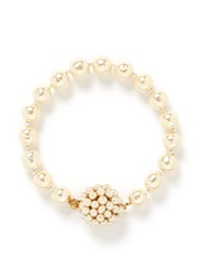 Miriam Haskell Beehive Baroque Glass Pearl Flower Bracelet White