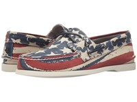 Sperry A O Stars Stripes Red White Blue Men's Moccasin Shoes Multi