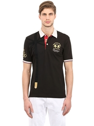La Martina Stretch Cotton Pique Polo Shirt Black
