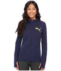 Puma Elevated Full Zip Hoodie Peacoat Women's Sweatshirt Blue